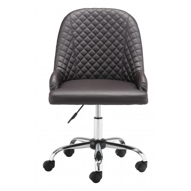 Brown Quilted Back Faux Leather Swivel Office Chair - 385460. Picture 3