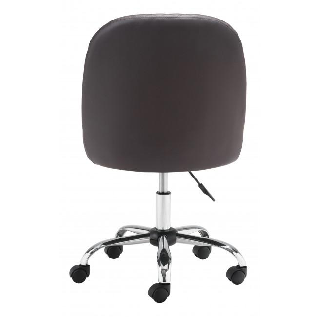 Brown Quilted Back Faux Leather Swivel Office Chair - 385460. Picture 4