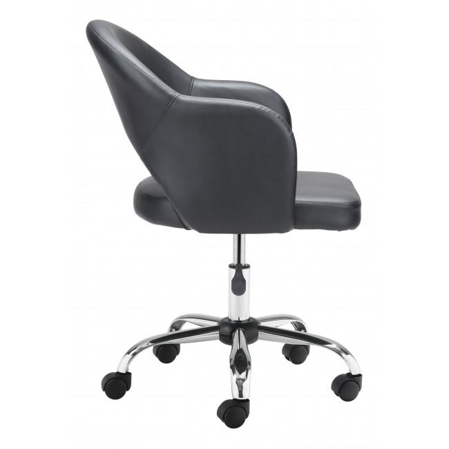 Black Faux Leather Curved Open Back Office Chair - 385462. Picture 2