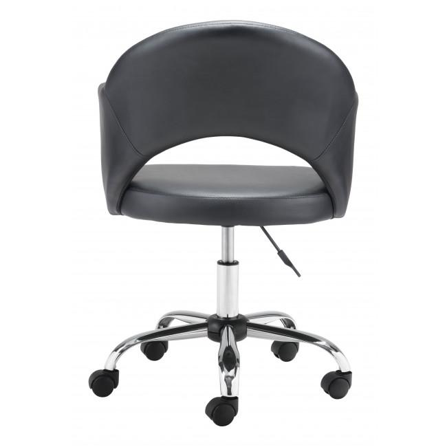 Black Faux Leather Curved Open Back Office Chair - 385462. Picture 4
