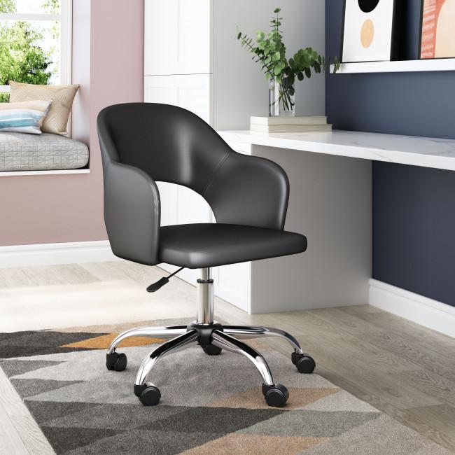 Black Faux Leather Curved Open Back Office Chair - 385462. Picture 8