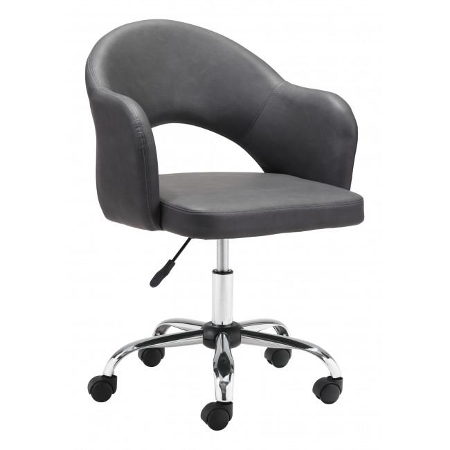 Gray Faux Leather Curved Open Back Office Chair - 385464. Picture 1