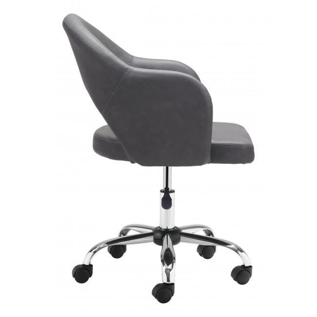 Gray Faux Leather Curved Open Back Office Chair - 385464. Picture 2