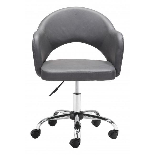 Gray Faux Leather Curved Open Back Office Chair - 385464. Picture 3