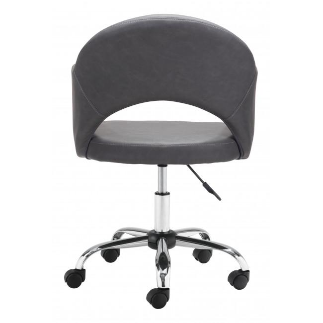 Gray Faux Leather Curved Open Back Office Chair - 385464. Picture 4