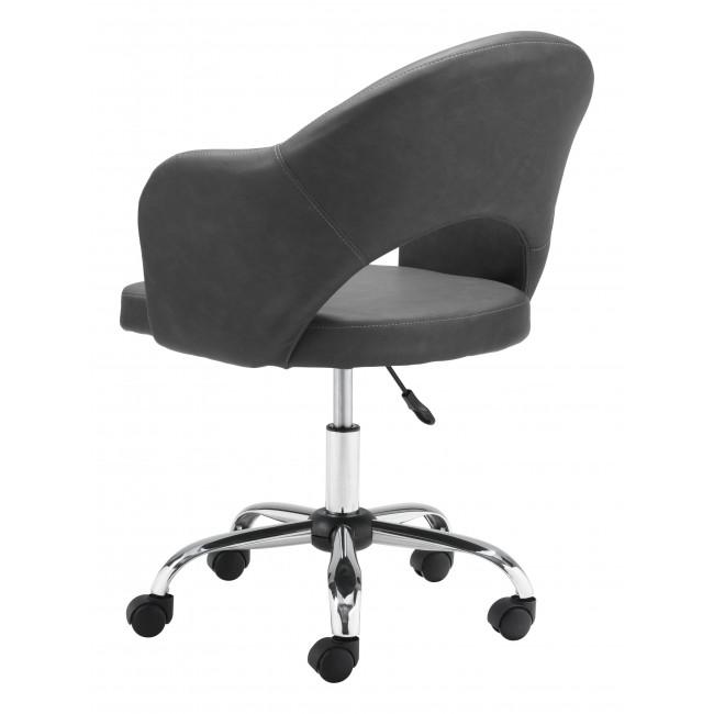 Gray Faux Leather Curved Open Back Office Chair - 385464. Picture 5