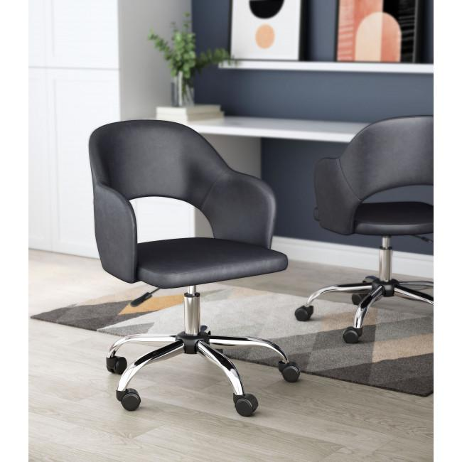 Gray Faux Leather Curved Open Back Office Chair - 385464. Picture 8