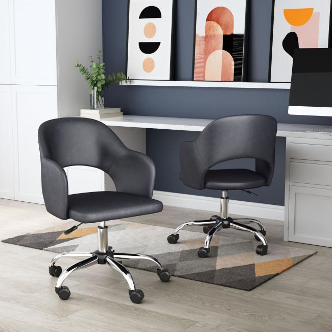 Gray Faux Leather Curved Open Back Office Chair - 385464. Picture 9