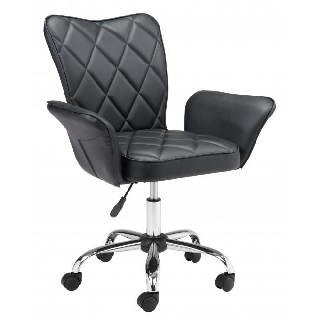 Black Faux Leather Flared Arms Swivel Office Chair - 385465. Picture 1