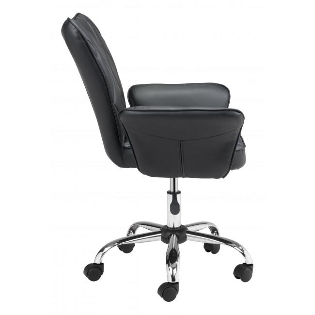 Black Faux Leather Flared Arms Swivel Office Chair - 385465. Picture 2