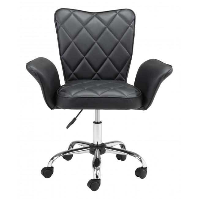 Black Faux Leather Flared Arms Swivel Office Chair - 385465. Picture 3