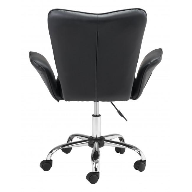 Black Faux Leather Flared Arms Swivel Office Chair - 385465. Picture 4