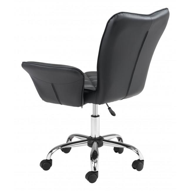 Black Faux Leather Flared Arms Swivel Office Chair - 385465. Picture 5