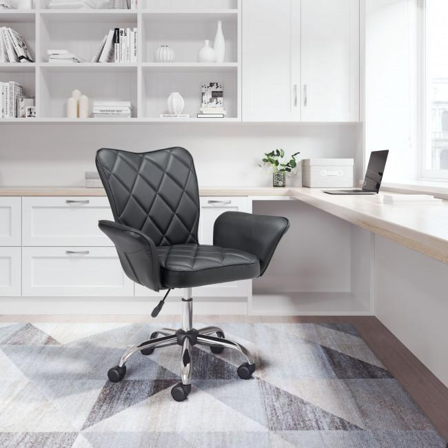 Black Faux Leather Flared Arms Swivel Office Chair - 385465. Picture 9