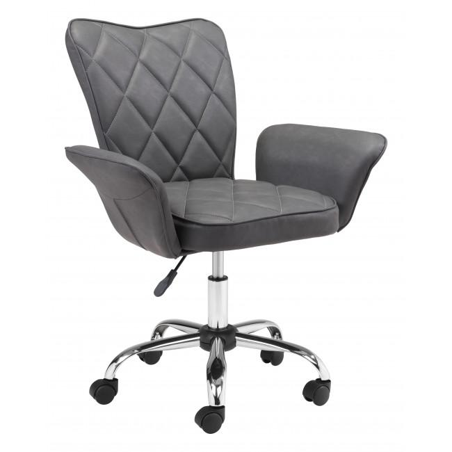 Gray Faux Leather Flared Arms Swivel Office Chair - 385466. Picture 1