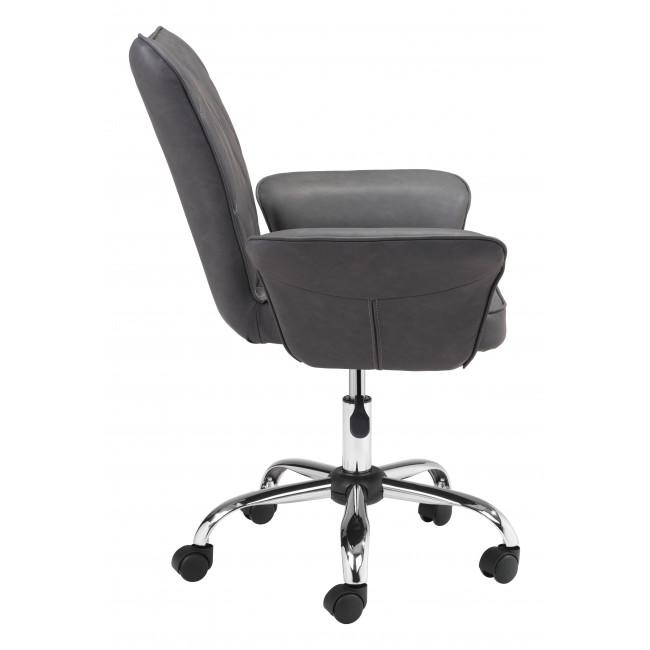 Gray Faux Leather Flared Arms Swivel Office Chair - 385466. Picture 2
