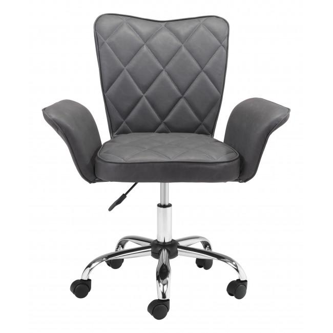 Gray Faux Leather Flared Arms Swivel Office Chair - 385466. Picture 3