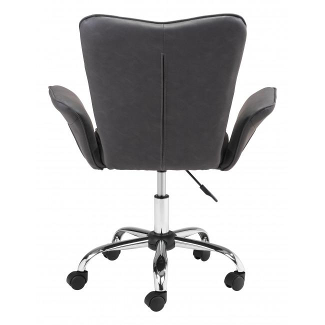 Gray Faux Leather Flared Arms Swivel Office Chair - 385466. Picture 4