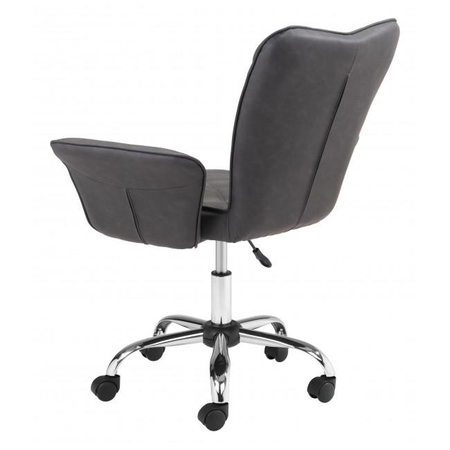 Gray Faux Leather Flared Arms Swivel Office Chair - 385466. Picture 5