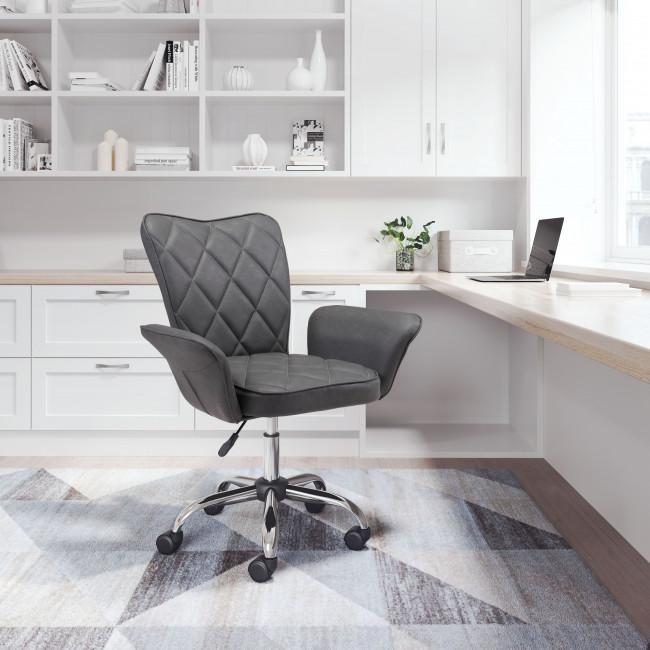 Gray Faux Leather Flared Arms Swivel Office Chair - 385466. Picture 9