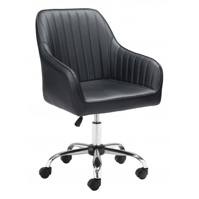 Black Faux Leather Upholstered Stylish Office Chair - 385467. Picture 1