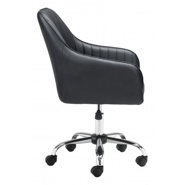 Black Faux Leather Upholstered Stylish Office Chair - 385467. Picture 2