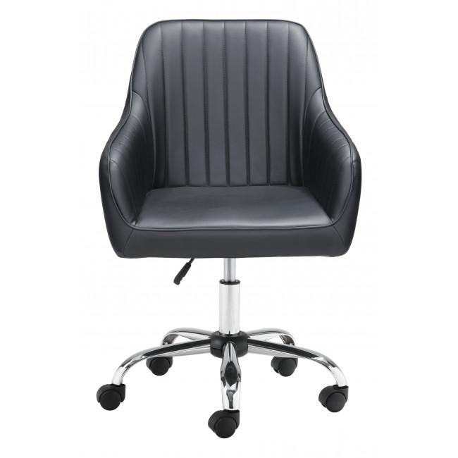 Black Faux Leather Upholstered Stylish Office Chair - 385467. Picture 3