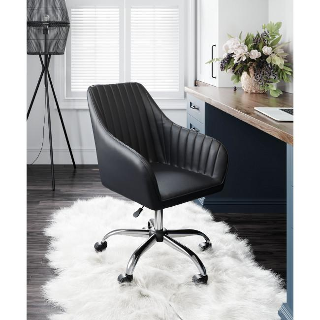 Black Faux Leather Upholstered Stylish Office Chair - 385467. Picture 8