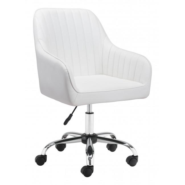 White Faux Leather Upholstered Stylish Office Chair - 385468. Picture 1