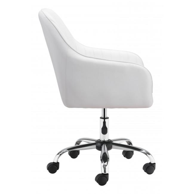 White Faux Leather Upholstered Stylish Office Chair - 385468. Picture 2