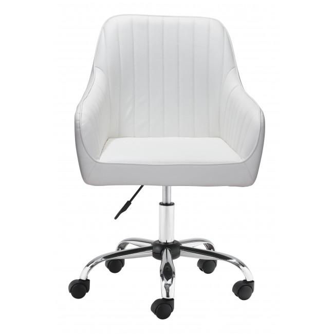 White Faux Leather Upholstered Stylish Office Chair - 385468. Picture 3