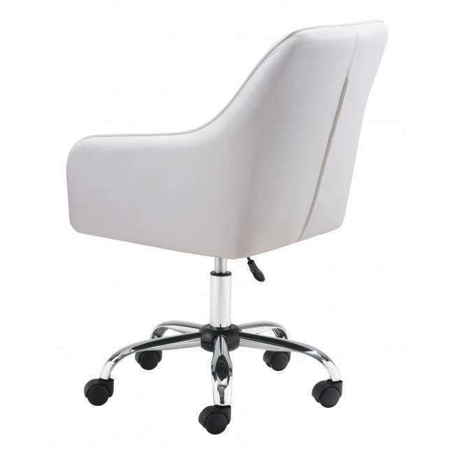 White Faux Leather Upholstered Stylish Office Chair - 385468. Picture 5