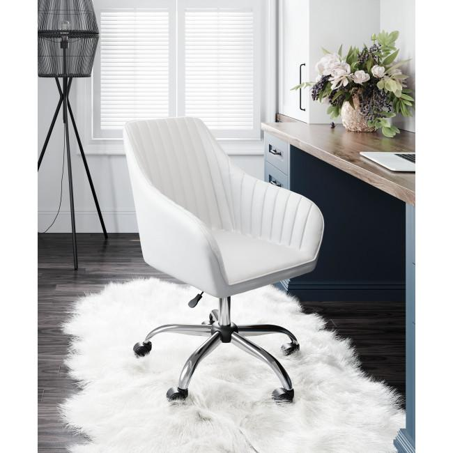 White Faux Leather Upholstered Stylish Office Chair - 385468. Picture 8