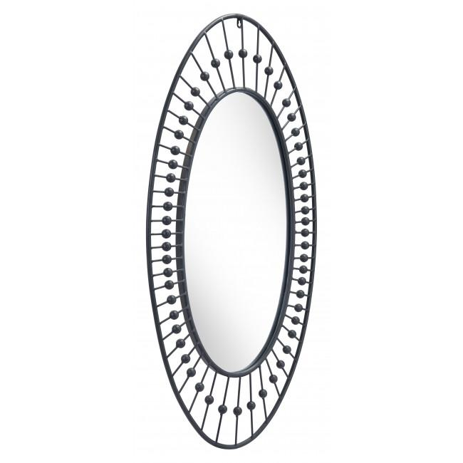 Oval Black Finish Spokes and Beads Wall Mirror - 385470. Picture 1