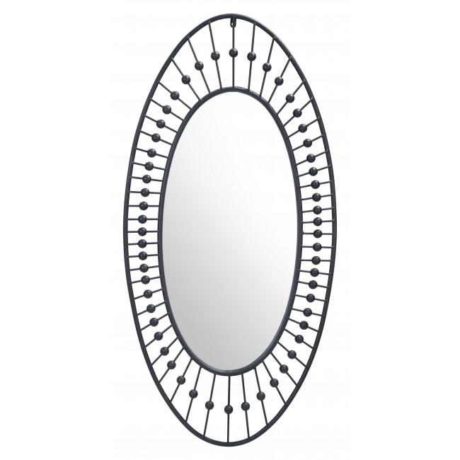 Oval Black Finish Spokes and Beads Wall Mirror - 385470. Picture 2