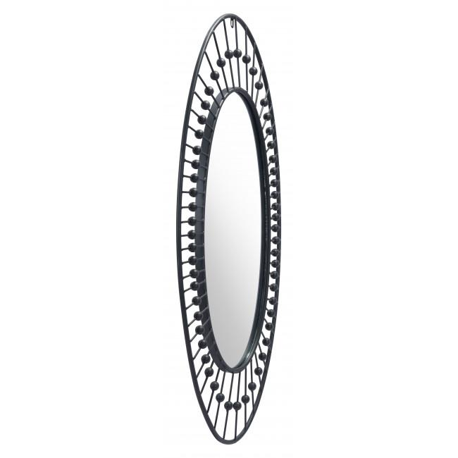 Oval Black Finish Spokes and Beads Wall Mirror - 385470. Picture 3