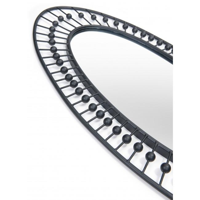 Oval Black Finish Spokes and Beads Wall Mirror - 385470. Picture 4