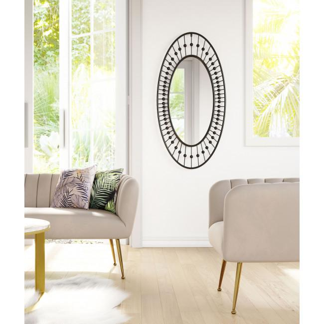 Oval Black Finish Spokes and Beads Wall Mirror - 385470. Picture 5