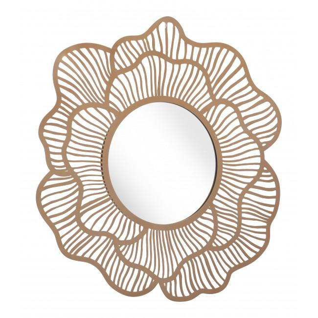 Flower Lines Gold Finish Wall Mirror - 385473. Picture 1