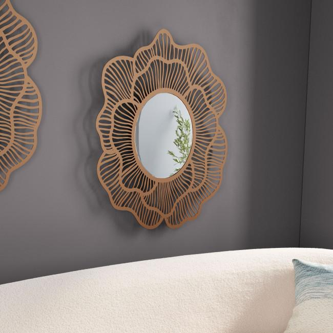 Flower Lines Gold Finish Wall Mirror - 385473. Picture 6