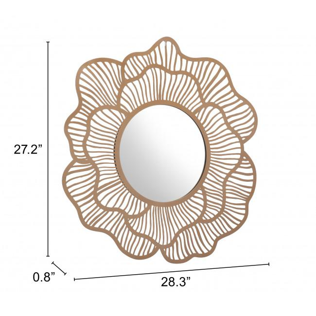 Flower Lines Gold Finish Wall Mirror - 385473. Picture 7