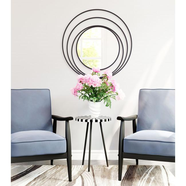 Concentric Circles Black Finish Wall Mirror - 385474. Picture 5