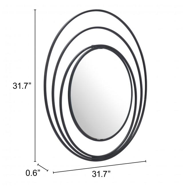 Concentric Circles Black Finish Wall Mirror - 385474. Picture 6