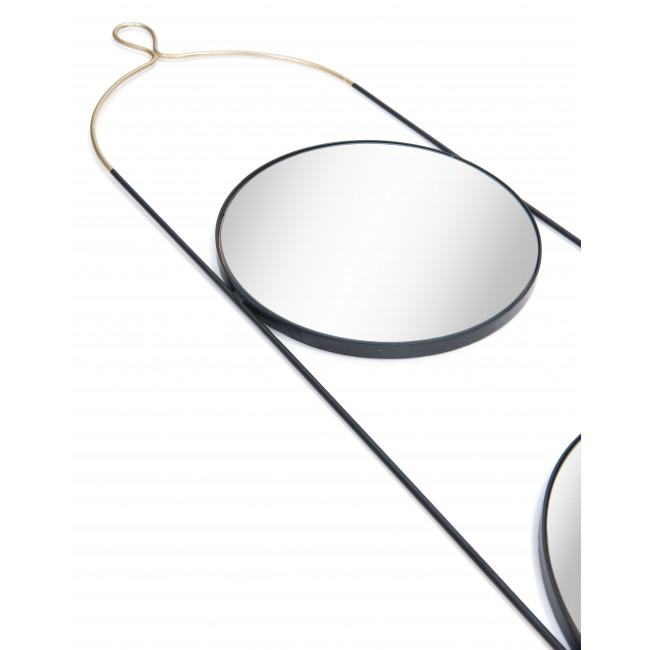 Double Gold and Black Round Hanging Mirror - 385475. Picture 4