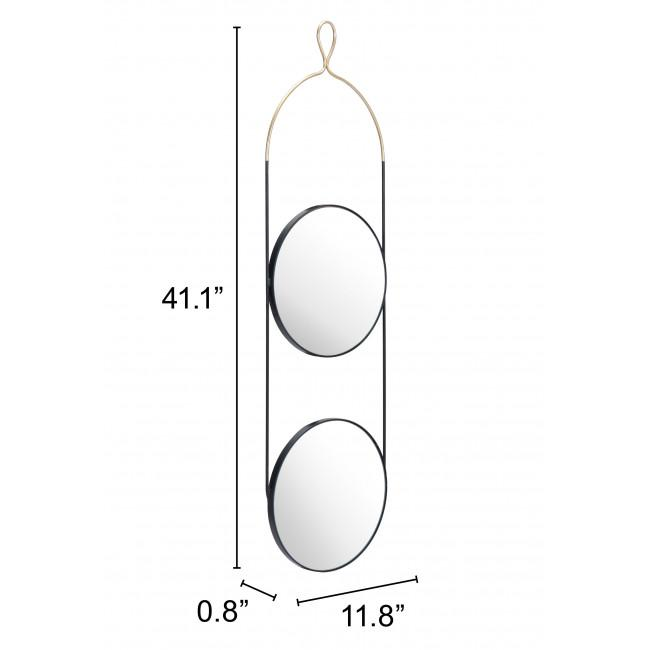 Double Gold and Black Round Hanging Mirror - 385475. Picture 6