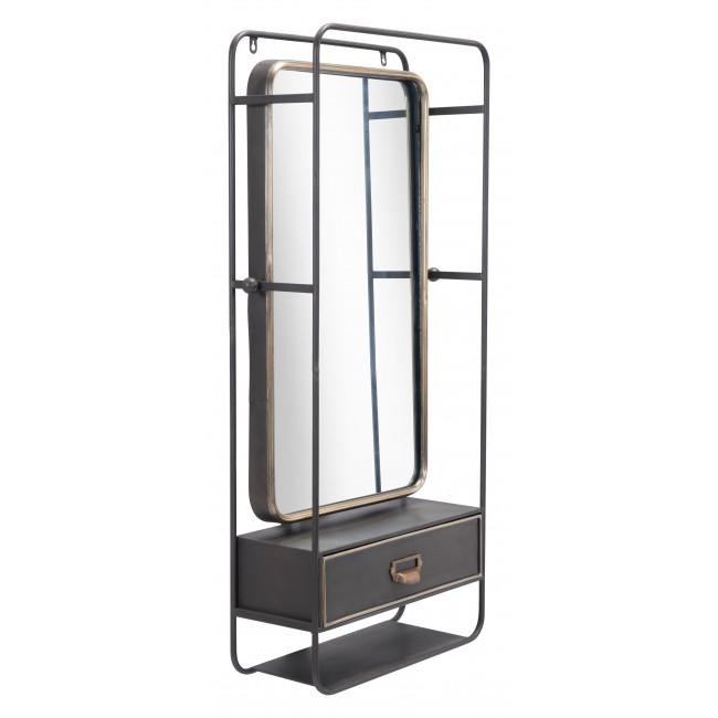 Distressed Industrial Gray and Gold Wall Mirror with Storage - 385476. Picture 1