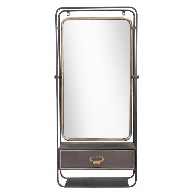 Distressed Industrial Gray and Gold Wall Mirror with Storage - 385476. Picture 2