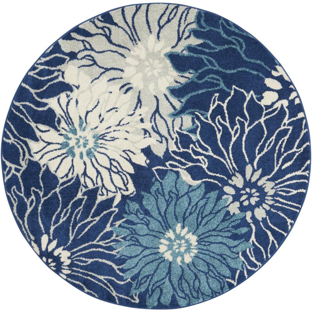 4' Round Navy and Ivory Floral Area Rug - 385478. Picture 1