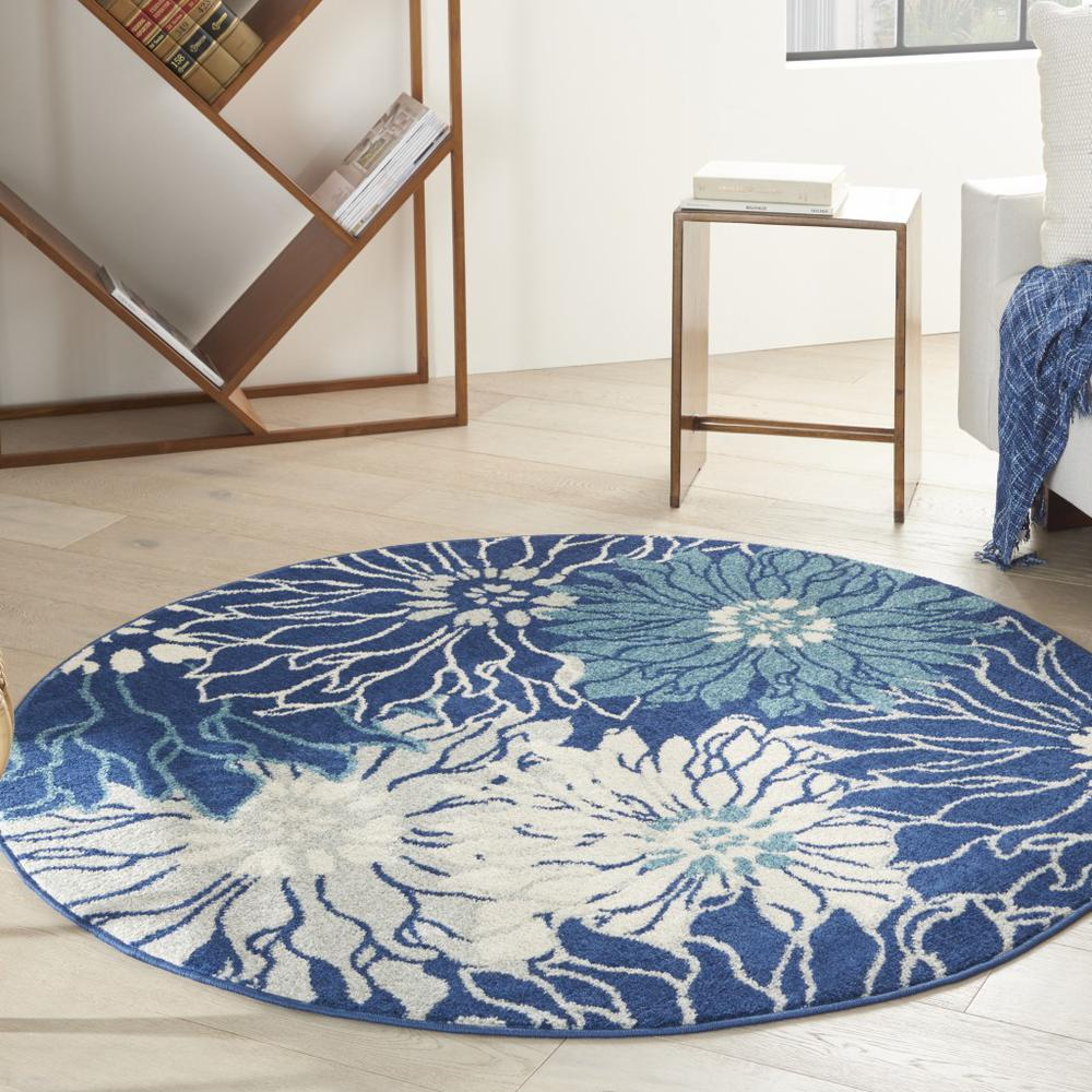 4' Round Navy and Ivory Floral Area Rug - 385478. Picture 2