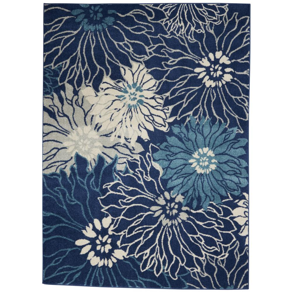 5' x 7' Navy and Ivory Floral Area Rug - 385479. Picture 1